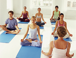 Several people in a yoga class