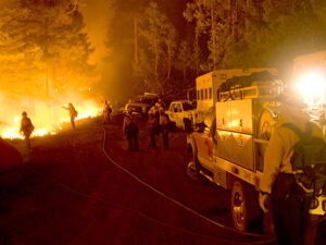 Firefighter group with vehicles,Gladiator Fire, Crown King, AZ, Prescott National Forest, May, 2012