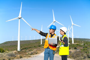 Wind energy engineers on site