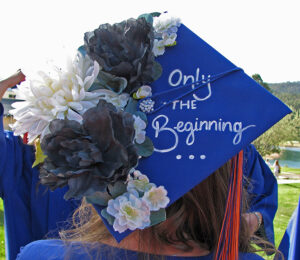 """2020 Graduate Cap - decorated """"Only The Beginning"""""""