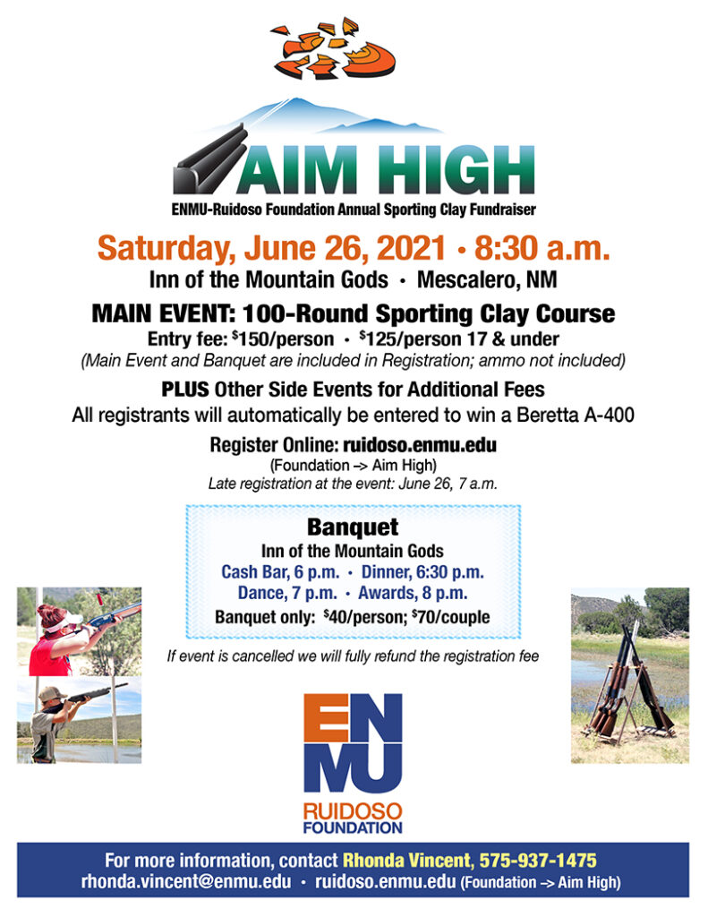 Aim High Fundraiser flyer 2021