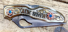 Aim High custom knife prize