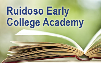 """Photo of open book with """"Ruidoso Early College Academy"""""""