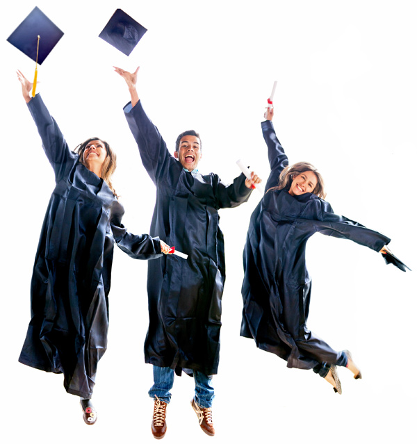 Jumping Graduates in caps and gowns