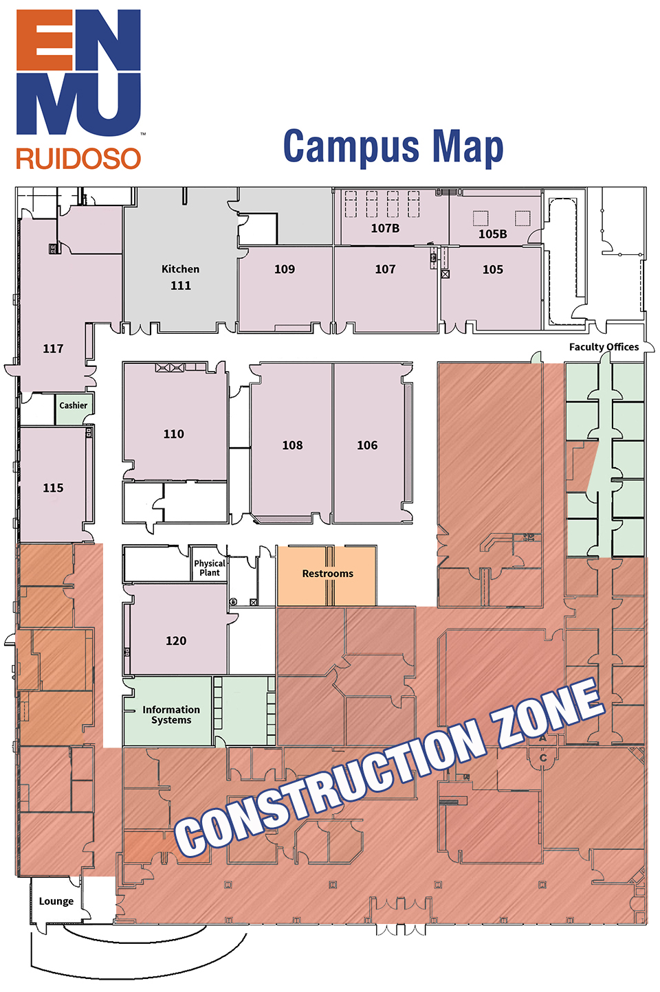 Main Campus Map showing construction zone